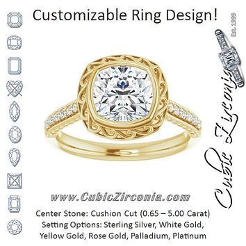 Cubic Zirconia Engagement Ring- The Itzayana (Customizable Cathedral-Bezel Cushion Cut Design featuring Accented Band with Filigree Inlay)