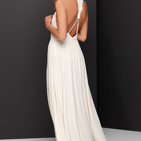 Bo-Hold Me Tight Beige Lace Maxi Dress