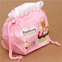 pale pink Rilakkuma bear sweets bento pouch lunch bag San-X - Lunch Bags - Bags - Accessories