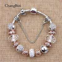 YILIANFEI White Peach Zircon Chamilia Beads DIY Fashion Cute Elegant Charm Pandora  Bracelets & Bangles For Women Gift BT0103
