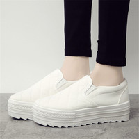 2015 women slip on shoes lazy platform low stripe foot wrapping women's sneakers 7colors casual canvas flats