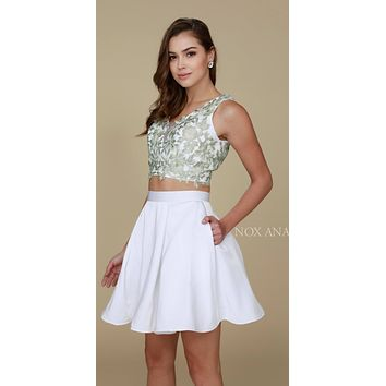 White-Mint V-Neck Two-Piece Homecoming Dress Appliqued Crop Top