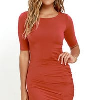 Steal Your Attention Rust Red Bodycon Dress