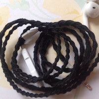 "Her ""Little Black Dress"" Wrapped Earbuds / Tangle Free Headphones - by MyBuds"