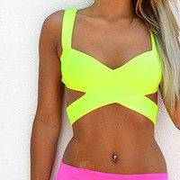 Neon Yellow Rave Halter Top EDC Costume Outfit