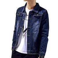 Spring and autumn teenage denim outerwear men's clothing slim jacket male casual clothes