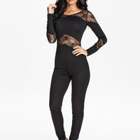 R70184 Black lace insert hollow out  rompers long sleeve black bodysuit plus size sexy  rompers and jumpsuits