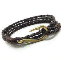 New Arrival Handmade Weave Cuff Rope PU Leather Vintage Fish Hook Men Bracelets & Bangles for Women Jewelry Accessories