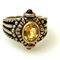 Sterling Silver Yellow Citrine and Garnet Ring size 8 1/2