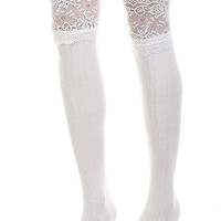 A Hint of Lace Boot Socks - White