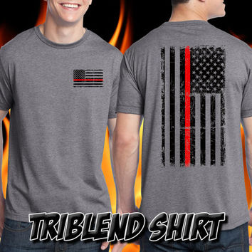 Thin Red Line Firefighter Shirt - Remember the Fallen Tri Blend Shirt Fire Department