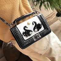 Fashion Multicolor Swan Metal Chain Single Shoulder Messenger Bag Women Handbag Flip Small Square Bag