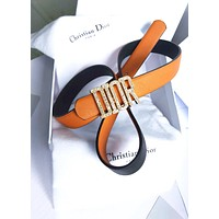 Dior Tide brand men and women casual wild diamond-studded letter buckle belt Orange