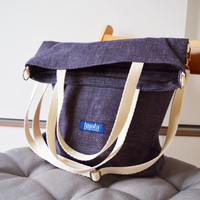 Large fold over canvas tote bag shopping bag casual fold over tote vegan school bag blue-beige book bag variable tote crossbody messenger