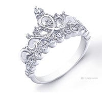 JewelsObsession 925 Sterling Silver Crown Ring / Princess Ring