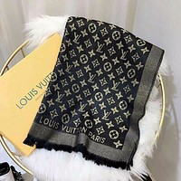 Louis Vuitton LV men's and women's scarf, cotton and linen wild old flower shawl scarf