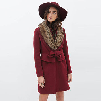 Red Wine Coat with Fur Collar