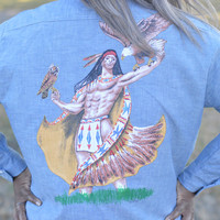 80's Vintage Big Mac JCPenny Denim Button Up Shirt/ Hand Painted Eagle Bull and Native American Scene on Back