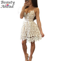 Cute 2016 summer style women lace dress spaghetti strap sleeveless v-neck club dresses plus size hollow out femme robe vestidos