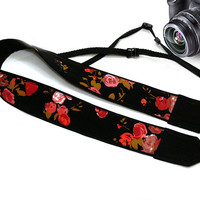 Floral Camera Strap. Flowers Camera Strap. Roses Camera Strap. Camera  Accessories