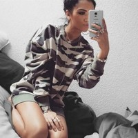 Tops Hot Sale Long Sleeve Round-neck Camouflage Hoodies [11817247631]