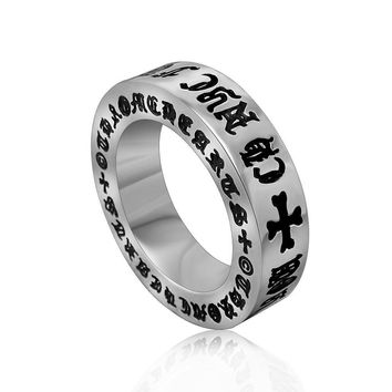 Gift New Arrival Stylish Shiny Vintage Roman Alphabet Men Titanium Jewelry Ring [6526802243]