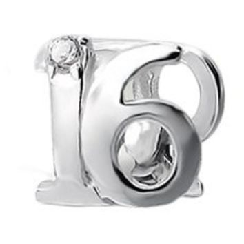 """.925 Sterling Silver """"Number 16 Sixteen 16th Birthday Sweet Sixteen"""" Charm Bead Compatible with Pandora Chamilia Troll Charm Bracelet"""