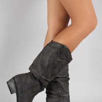 Bamboo Slouchy Almond Toe Cowgirl Mid Calf Boot