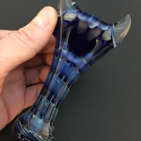 Cobalt Glass Silver Fumed Honeycomb Pattern and Wrap and Rake Horned Tobacco Spoon Pipe