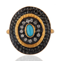 Indian Artisan Costume Zircon Jewelry Natural Blue Turquoise Gemstone Rings
