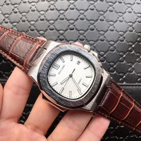 8DESS Patek Philippe Woman Men Fashion Leather Automatic Mechanical Wristwatch Watch