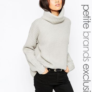 Tiger Mist Petite Chunky Utility Roll Neck Jumper at asos.com