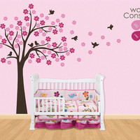"""Baby Nursery Wall Decals - Cherry Blossom Tree Wall Decal -  Tree Decal - Large: approx 75"""" x 75"""" - K025"""