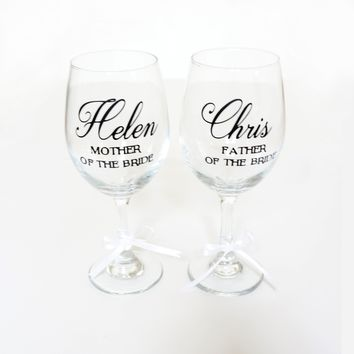 Mother of the Bride Gift, Father of the Bride Gift, Custom Personalized Wine Glasses, Mother Father of the Groom Gift,Wedding Party Gift