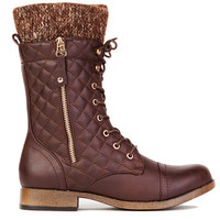 Elena Quilted Combat Boot in Brown
