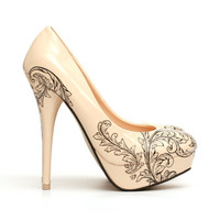 Floral Tattoo Shoes.Tattooed High Heel Pumps. Tattooed Nude Woman's Shoes.
