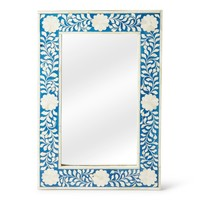 Olivia Traditional Rectangular Bone Inlay Wall Mirror Blue