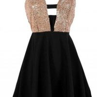 Black Dress with Sequin Embellished Top & Criss Cross Back