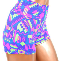 NEON UV Glow Purple Hot Pink and Lime Aztec Geometric Southwest Print High Waist Pinup Shorts -E7235