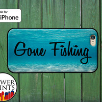 Gone Fishing Quote Ocean Fish Bass Trout Outdoors Accessory For Rubber iPhone 4 and 4s and iPhone 5 and 5s and 5c and iPhone 6 and 6 Plus +