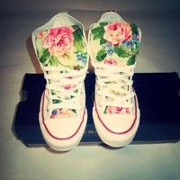 DCCKHD9 NEW YEARS SALE!!! Spring Floral Converse Shoes