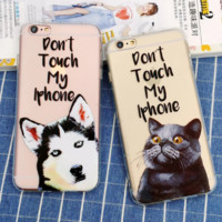 "Funny dog&cat ""Don't touch my iPhone"" Phone Case Cover for Apple iPhone 7 7 Plus 5S 5 SE 6 6S 6 Plus 6S Plus + Nice gift box! LJ161005-005"