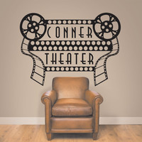 Home Theater Decor, Home Theater Sign, Movie Theater Decor, Home Theater Decor, Personalized Theater Decal