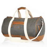 River Island MensGrey canvas holdall bag