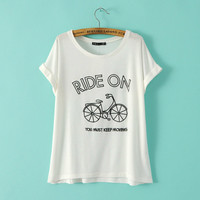 White 3d Bicycle Print Cuffed Sleeve T-Shirt