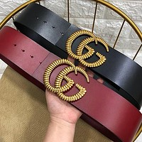 GUCCI new ladies large striped gold buckle head personality belt belt
