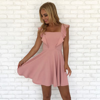 Ruffle Me Up Skater Dress in Pink