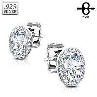 Pair of .925 Sterling Silver CZ Paved Double Tier Oval Solitare CZ WildKlass Earrings