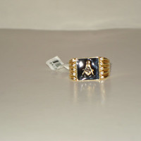 Mens Vintage 10k Gold Filled and Enamel Masonic Ring with 10 Stones - Size 10