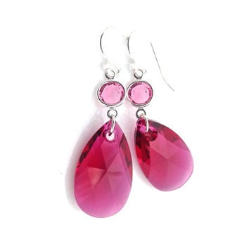 Hot Pink Earrings, Pink Pendant, Old Hollywood Jewelry, Glam Earrings, Fuchsia, Dangle, Swarovski Crystal, Special Occasion, Bright Pink, 35